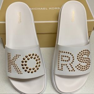 MICHAEL KORS WHITE TYRA SLIDE OPTIC SIZE 8 NIB